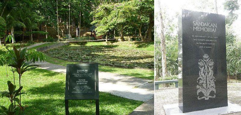 死亡行軍是日本在二戰時期的戰爭暴行之一。(圖為山打根戰俘營改建的公園及紀念碑/取自網路)