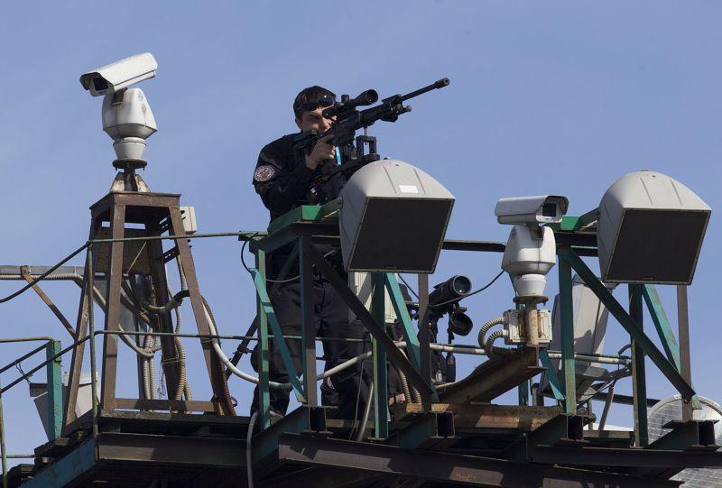 紅場上的狙擊手。(美聯社)