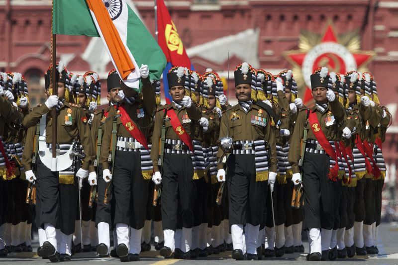 參與閱兵的印度部隊。(美聯社)