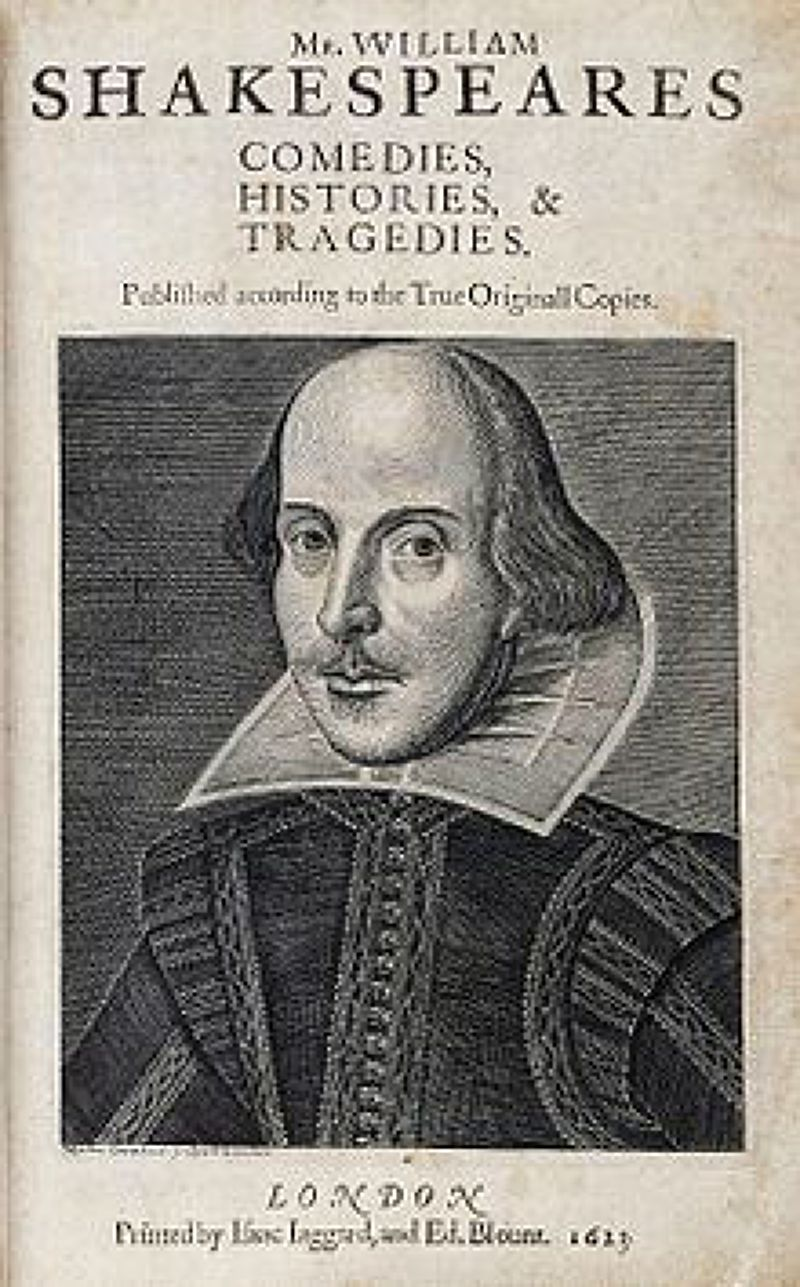 《第一對開本》扉頁的莎翁畫像。(取自維基百科)