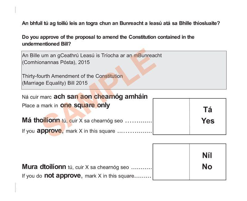 愛爾蘭同性婚姻公投選票。(傅莞淇攝)