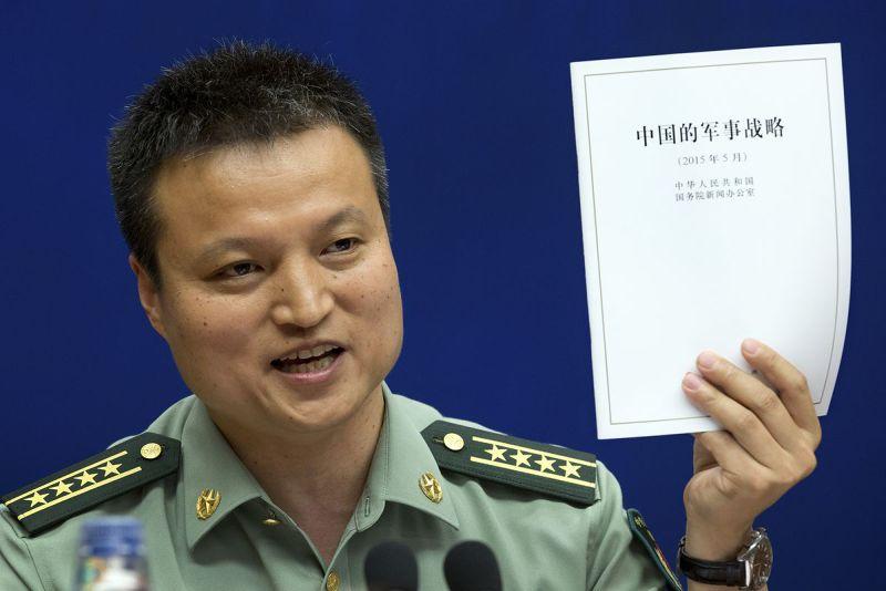 中國國防部發言人楊宇軍大校發表國防白皮書。(美聯社)