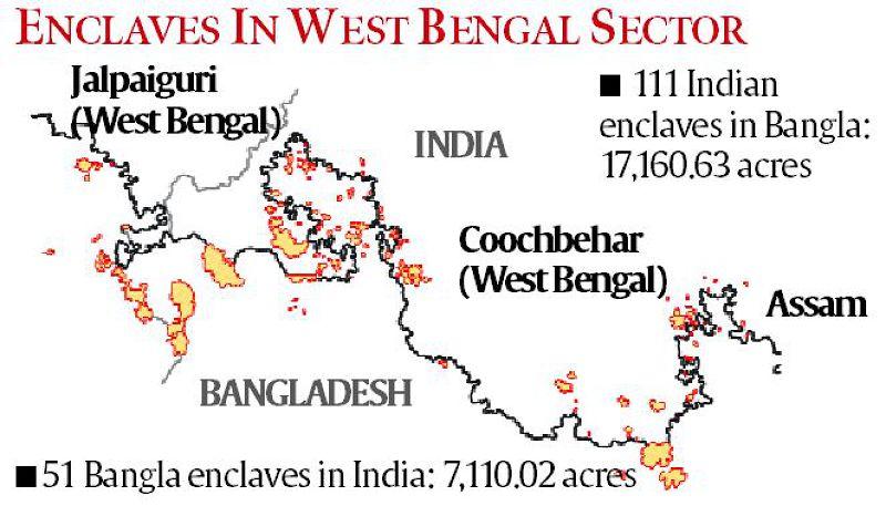 印度與孟加拉邊境的非地位置圖。(美聯社)