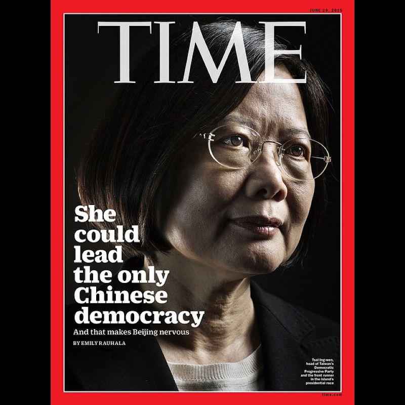 民進黨總統候選人蔡英文登上《時代》雜誌封面。(取自推特)