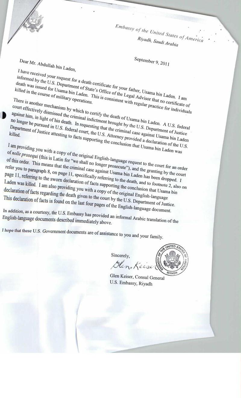 美駐沙國大使寫給賓拉登兒子的信。(取自維基解密)