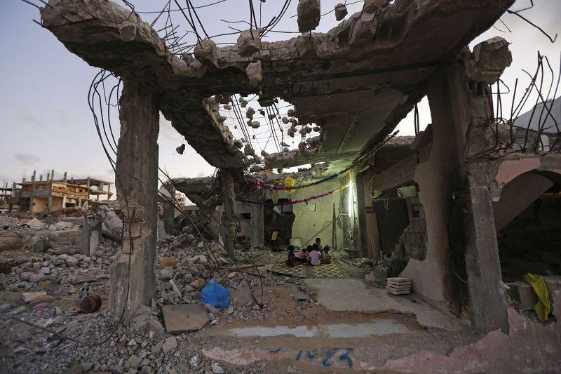 加薩走廊的戰後廢墟(美聯社)