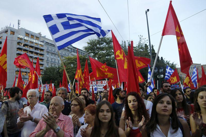 立場反撙節的希臘民眾集會。(美聯社)