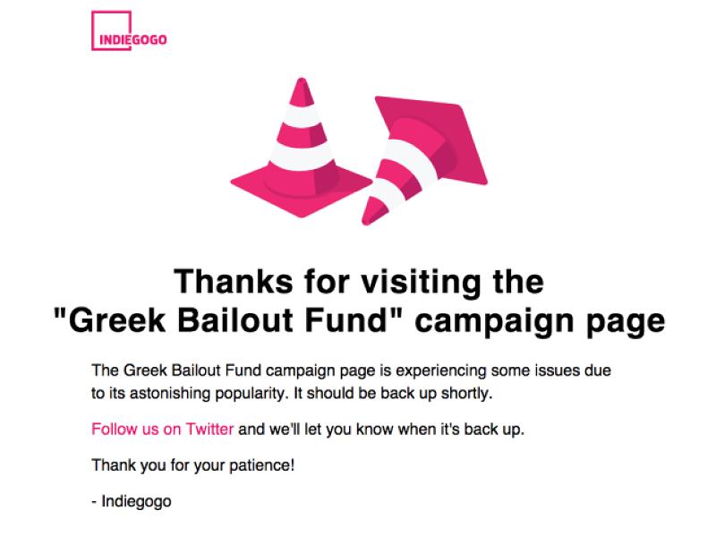 Indiegogo一度因為募資活動響應熱烈而當機