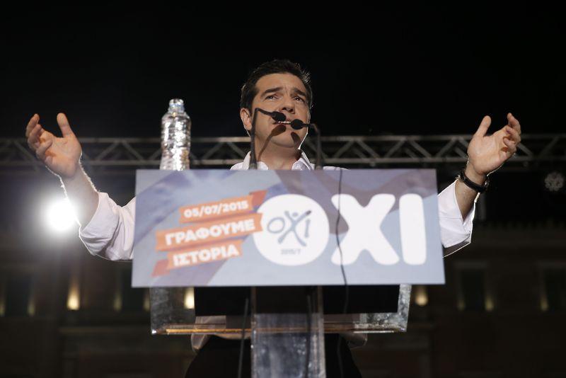 希臘總理齊普拉斯4日晚間聲嘶力竭的演說。(美聯社)