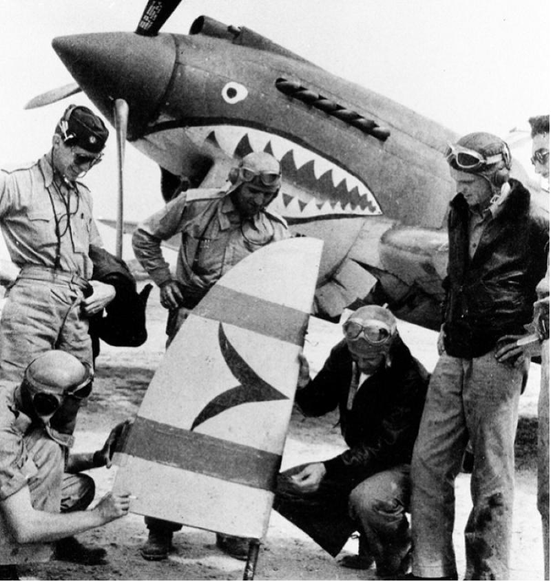 在中國協同作戰的中國空軍美國志願大隊─飛虎隊。(國史館提供)