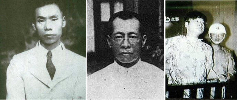 二二八事件中犧牲的王添(左)林茂生(中)和主張台獨在1962年下槍決的陳智雄(右)。(維基百科)