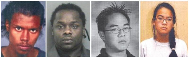 加拿大越南華裔少女弒親案,由右至左為珍妮佛潘、男友丹尼爾、兩名受僱殺人者倫福德與戴維。