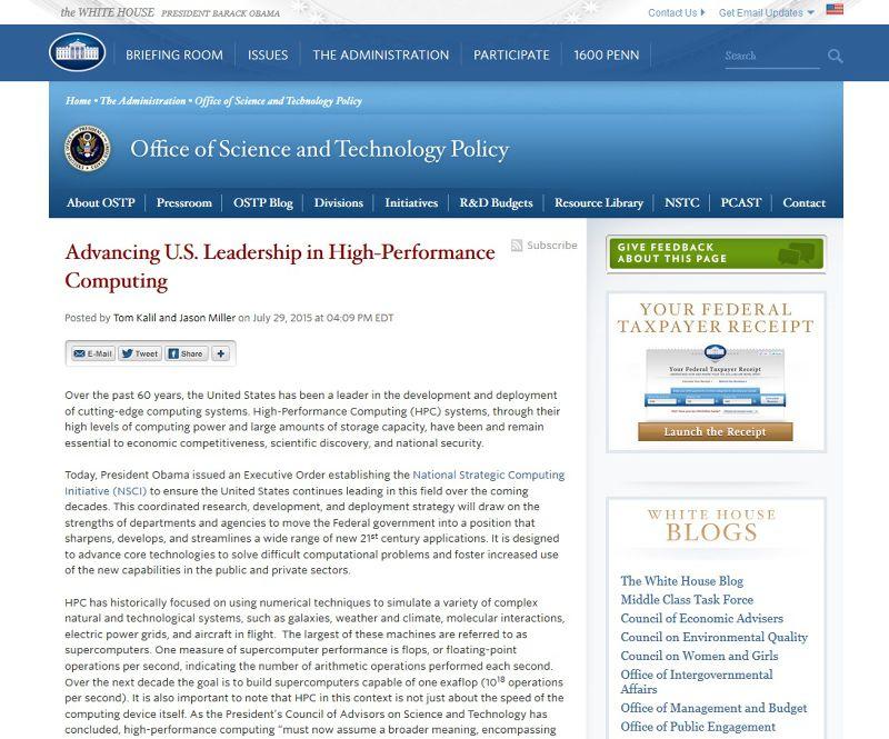 美國白宮網站部落格宣布打造超級電腦。(取自白宮網站)