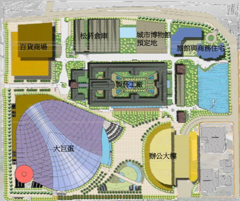 2003年環境影響評估書的大巨蛋園區設計,當時還是個以大巨蛋為主體的體育園區。(取自2003年大巨蛋環評書)