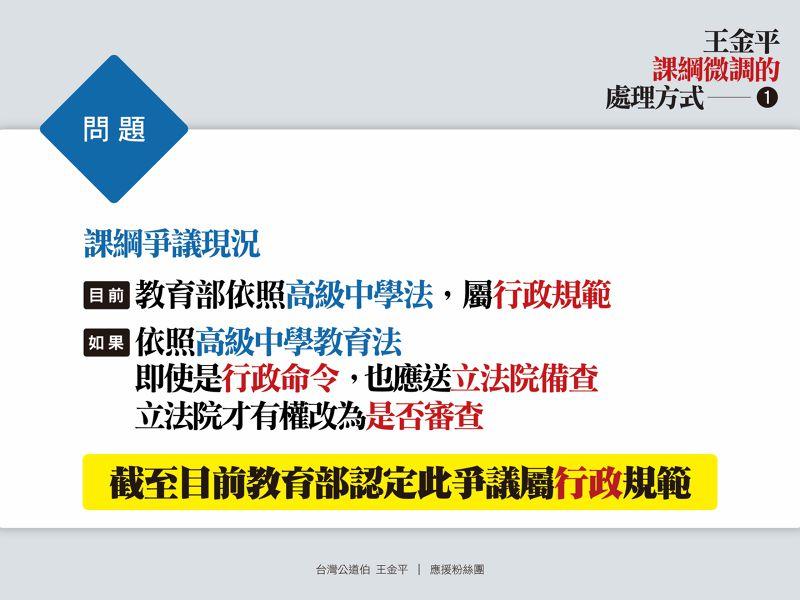 立法院長王金平在臉書上提出課綱是否經過立院備查,行政立法有不同看法。(台灣公道伯粉絲頁) (複製).JPG
