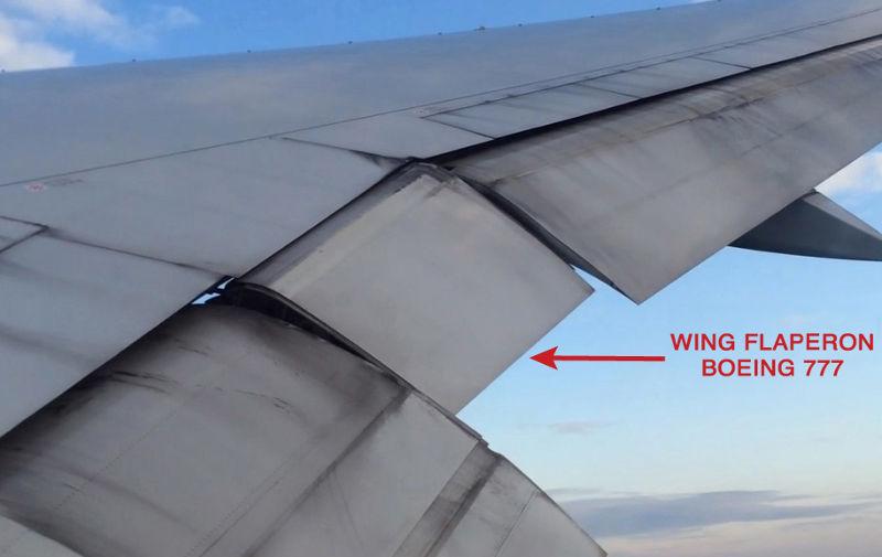 馬來西亞航空MH370班機所屬波音777機型的襟副翼(flaperon)(維基百科)