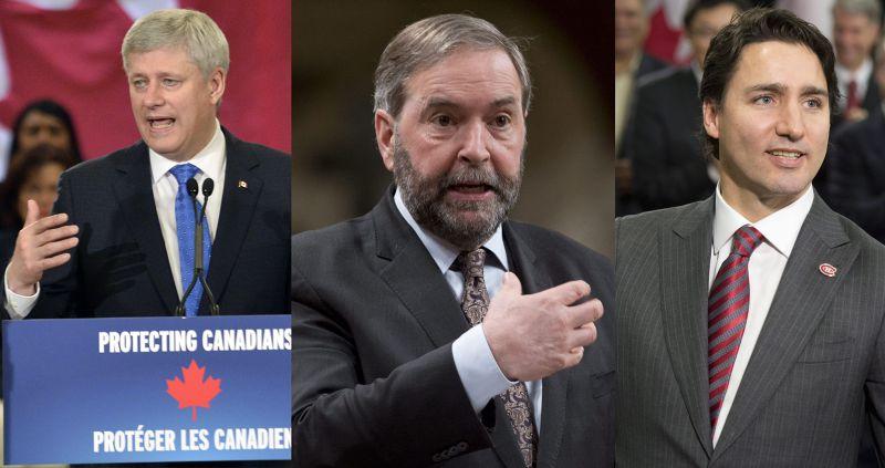 加拿大國會大選三雄鼎立,左起:現任總理哈珀、新民主黨領導人馬爾凱、自由黨領導人杜魯道(美聯社)