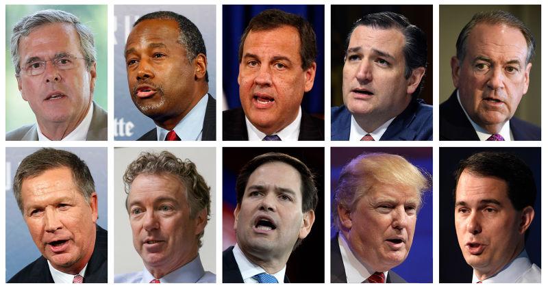 2016年共和黨總統參選人。上排左起:傑布.布希、卡森、克利斯蒂、克魯茲、哈克比;下排左起:卡西奇、保羅、魯比歐、川普、沃克(美聯社)
