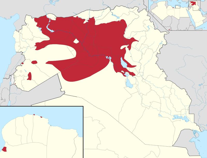 伊斯蘭國最新佔領區域 註:紅色為IS佔領地盤 (圖片來源:維基百科)