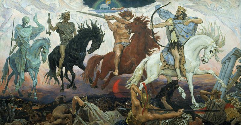 啟示錄末日四騎士,白紅黑灰,各有象徵。