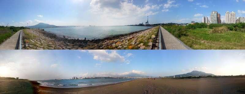 淡江大橋基地,上為淡水基地,下為八里基地。