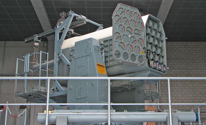美國「公羊短程反飛彈系統」( RIM-116 Rolling Airframe Missile/RAM)。(取自維基百科)