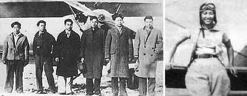 第一期美洲華僑航空學校學生(左),女學員李月英(右)。(圖片來源:flyingtiger-cacw.com)