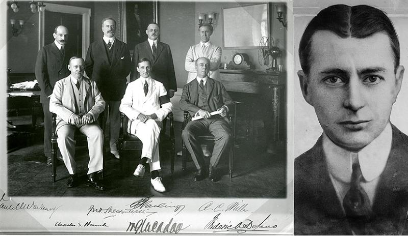 左圖:1914年聯邦儲備理事會首屆成員,右圖:Benjamin Strong。(維基百科)