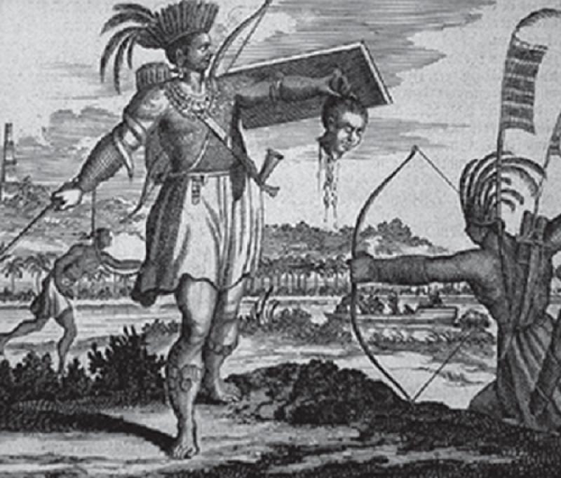 割下首級誇耀的福爾摩沙島的獵頭者(出自Oefert Dapper 1670)