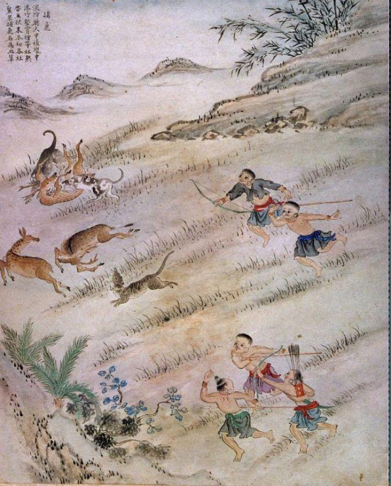 《臺番圖說》-捕鹿,1744-47年(維基百科)