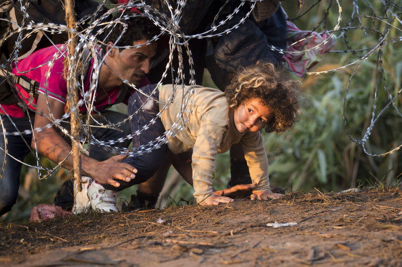 從賽爾維亞試圖進入匈牙利的難民。(美聯社)