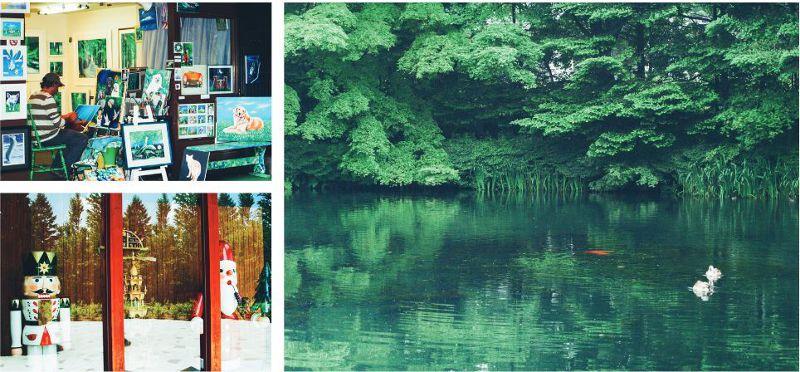 左上/ 輕井澤可以見到許多喜愛自然荒野的外國人。 左下/不妨繞進博物館看看,充滿驚喜。圖為 Erz 玩具博物館。 右/倒影和實景構成美麗畫面的雲場池。