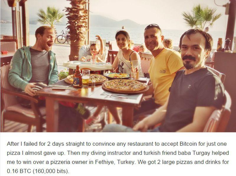 在土耳其,韋斯花了兩天才終於找到願意接受比特幣付帳的餐廳(擷取自網站)。