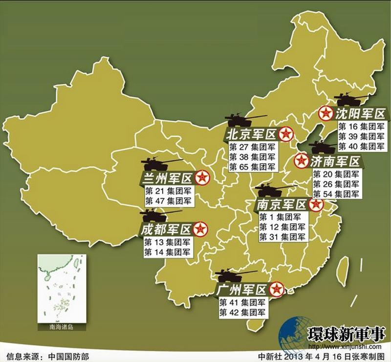 中國現行七大軍區與18個集團軍。