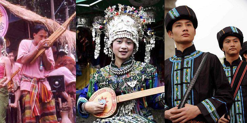 從左到右,傣族(Khenesarong/維基百科)、侗族(百度百科)和壯族(百度百科)和台灣人祖先也有血緣上的相關。