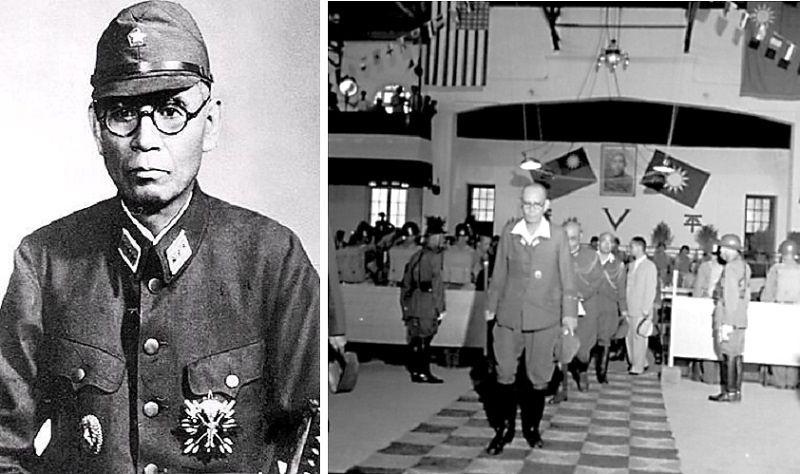 岡村寧次受降後走出會場(右一),戰後他協助蔣介石成立「白團」。(中新網/華龍網)