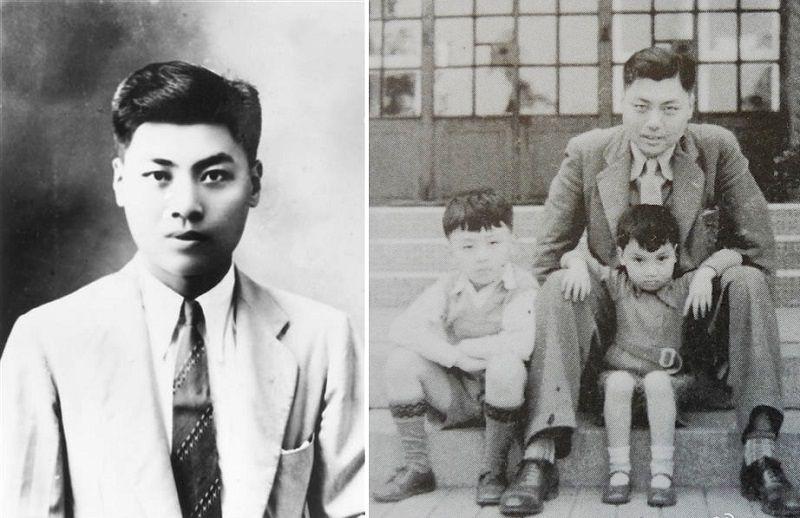 任職於汪精衛政府,後遭到暗殺的劉吶鷗。右圖為劉吶鷗與一對子女。