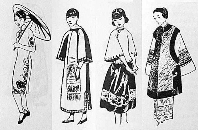張愛玲為她的英文原作《中國人的生活和時裝》配的時裝圖