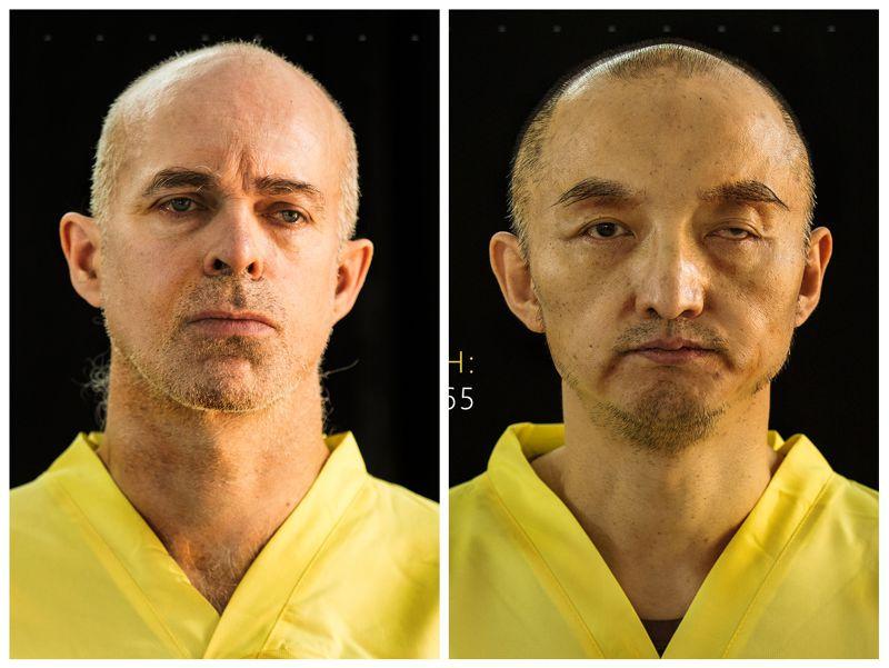 伊斯蘭國雜誌中所刊登的挪威籍(左)與中國籍人質(右)。(美聯社)