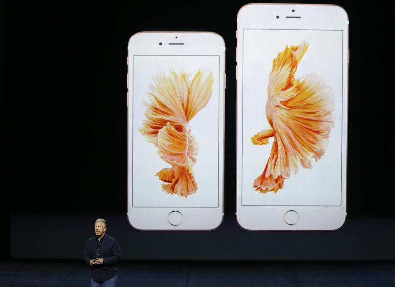 蘋果的iPhone 6s與iPhone 6s Plus。(美聯社)
