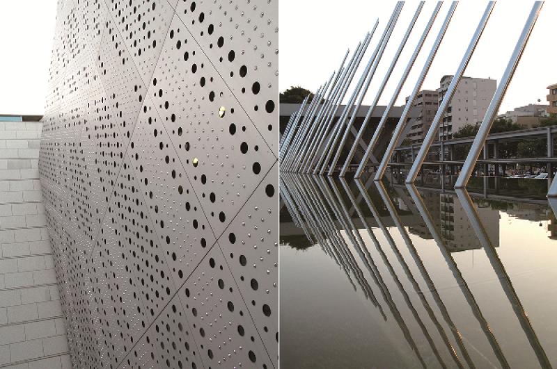 以圓點孔洞交錯而成的獨特外牆/美術館廣場前藝術裝置將水和光影搭配的恰到好處。