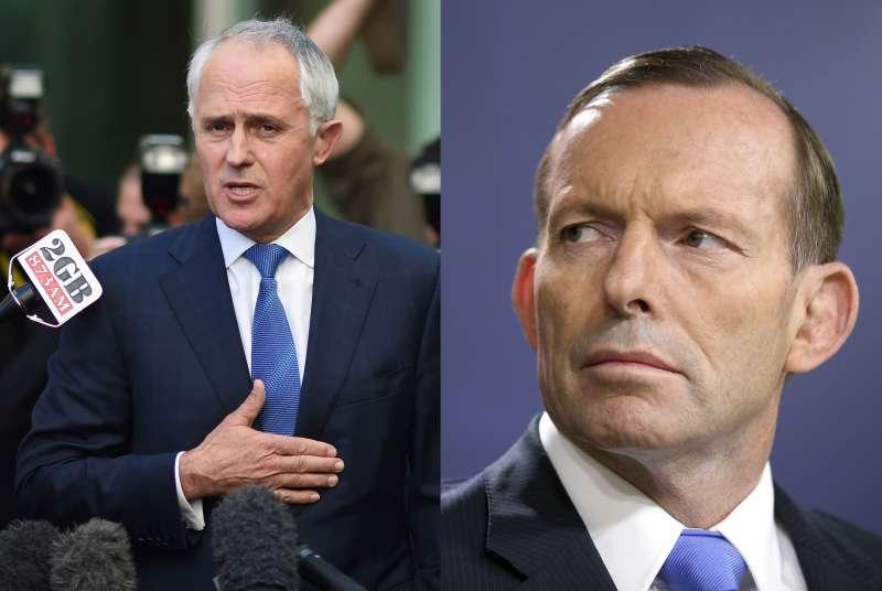 澳洲總理艾伯特(右)與通信部前部長騰博(美聯社)