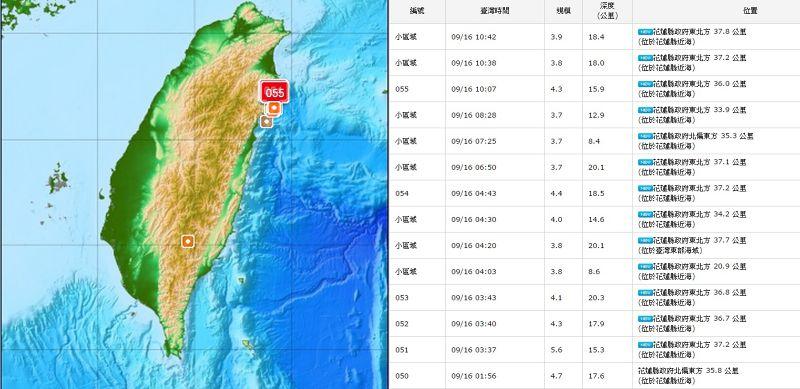 20150916-SMG0045-014-今晨起在花蓮附近接連已發生14起大小地震-中央氣象局.jpg