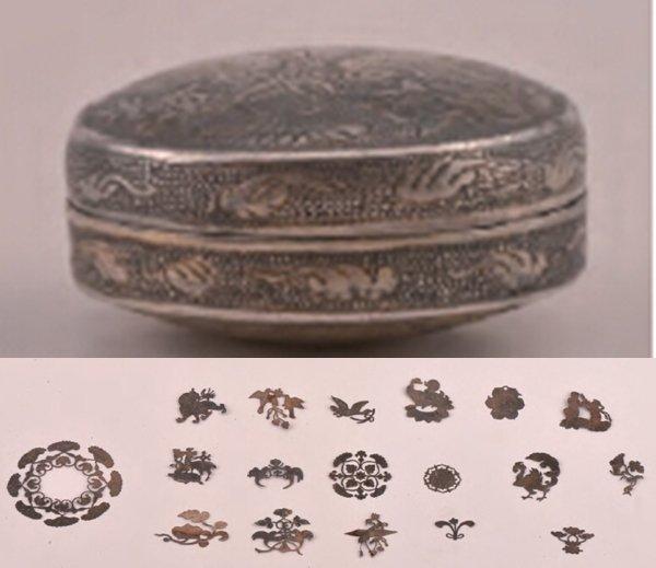 唐代古墓出土的貴婦銀盒(上)與裝飾(取自網路)