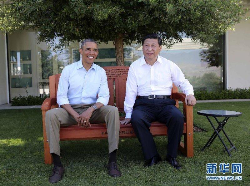 習近平2013年與歐巴馬在加州莊園會晤。