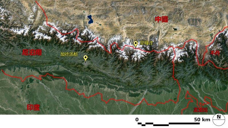 聖母峰位置圖(圖片來源:Google Earth整理)