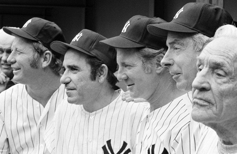 洋基巨星,左起:曼托、貝拉、福特、迪馬喬、史坦格(美聯社)