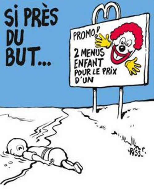 查理週刊引起爭議的漫畫。(截圖)