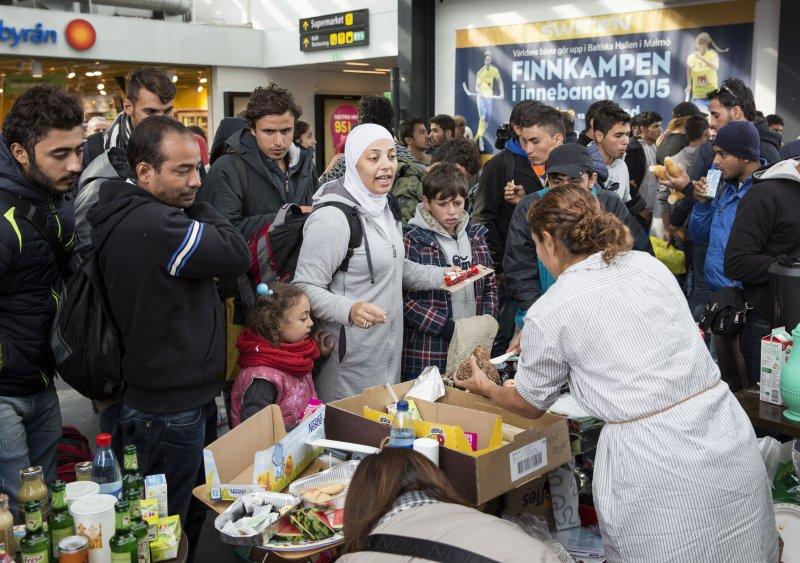 抵達瑞典的敘利亞難民。(美聯社)