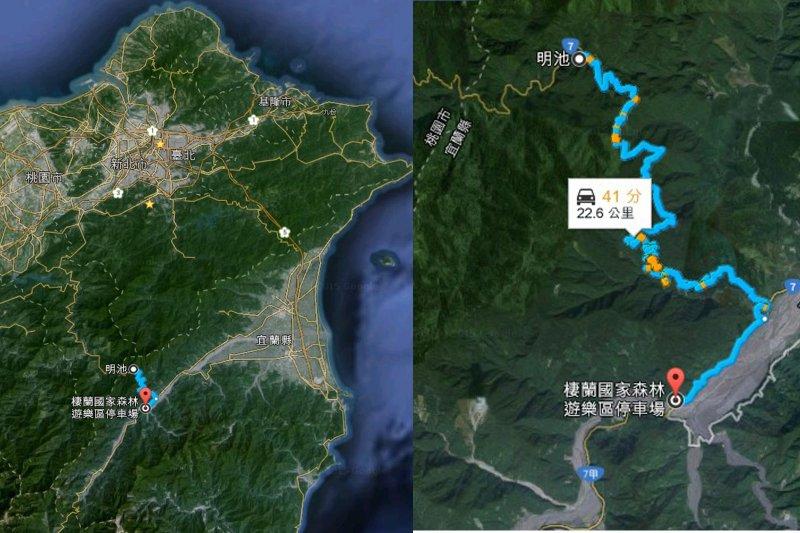 北部橫貫公路從明池到棲蘭的工程,約長22.6公里,是由1959年退輔會森林開發處成立後由榮民修築。(取自Google map)